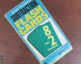 Subtraction Flash Cards Vintage Green Math Flashcards