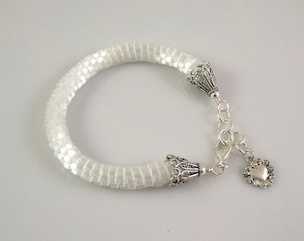 White Satin Bead Crocheted Bracelet