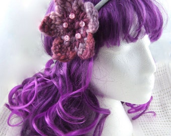 Pink flower dreadlock hair tie/flower headband