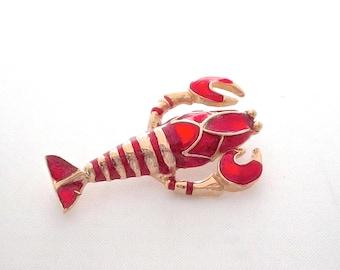 Vintage Lobster Brooch Figural Enamel Pin Lunar Symbol