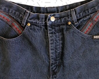 Roughrider Extra Long Inseam High Rise Tapered Jeans with Ethnic Print Detailing