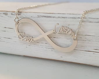 Personalized Infinity Necklace - Interlocking Hoop Necklace - Personalized Infinity Pendant Necklace - Gift for her