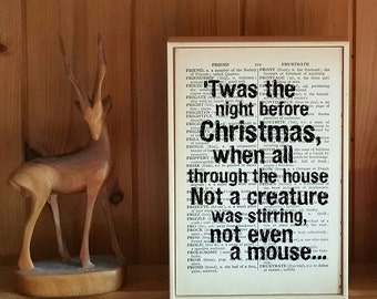 Twas the Night Before Christmas Quote. A Visit from St. Nicholas Poem. Vintage Dictionary Book Page Print. Christmas Gift. Die Hard Quote