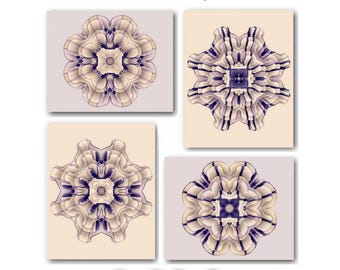 Beige Wall Art Cream Art Prints Beige Brown Floral Art Prints Rustic Living Room Decor Neutral Abstract Flower Home Decor Mandala Set of 4