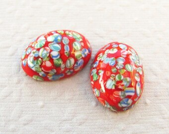 18x13mm Red Millefiori Vintage Japanese Glass Cabochons (4 pieces)