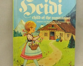 Vintage 1970s Wonder Book Heidi, Child of the Mountains