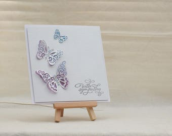 Handmade with sympathy 3D butterfly card