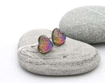 West Coast Sunset Earrings - Rainbow Heart Earrings - Heart Glitter Earrings - Nail Polish Jewelry Style