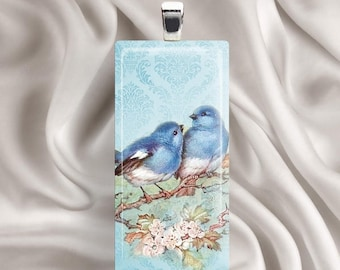 Blue Birds Glass Tile Pendant Necklace - Nature, Branch, Flowers, Vintage style