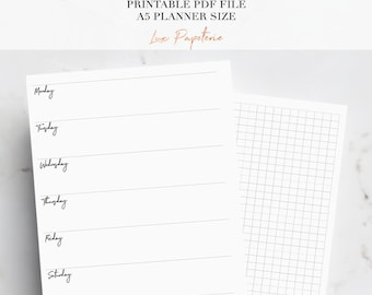 A5 Weekly Planner Inserts, Week on one page, Printable planner inserts, Horizontal planner inserts, A5 Planner Inserts, WO1P