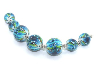 7 psychedelic oceanic blue turquoise Polymer clay gumball beads, elegant handmade millefiori ball beads jewelry making craft supplies