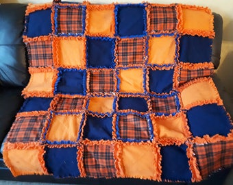 Orange Crush Rag Quilt-Navy/Orange