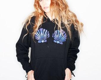 Mermaid Top Women's Hoodie Galaxy Mermaid Bra Mermaid  Music Festival Wear « G185black «« (basic, pullover) «