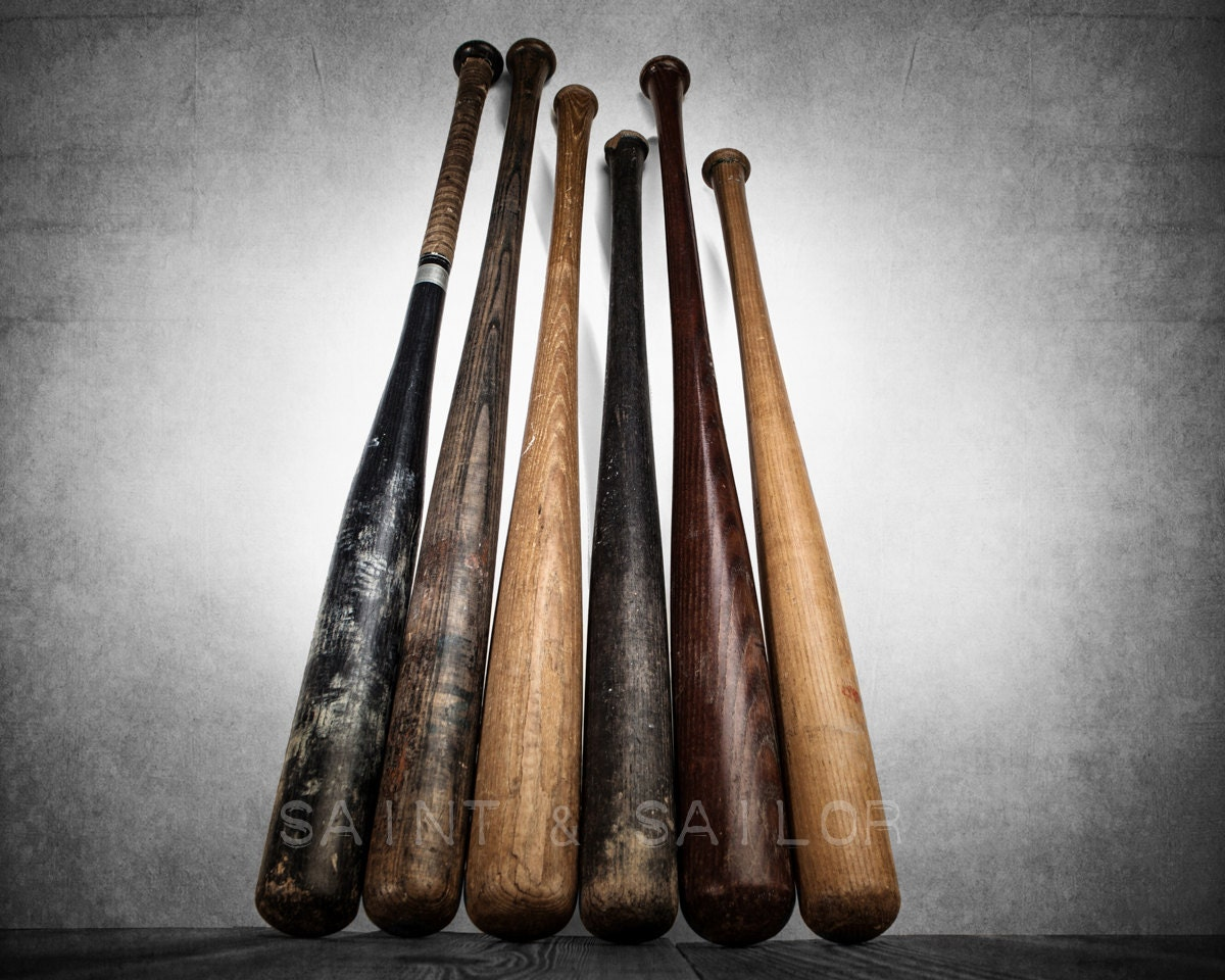 Sixvintage Baseball Bats On Wood One Photo Print Decorating
