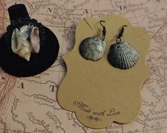 Seawitch Ring & Earring Set, Real Shells, Gothic