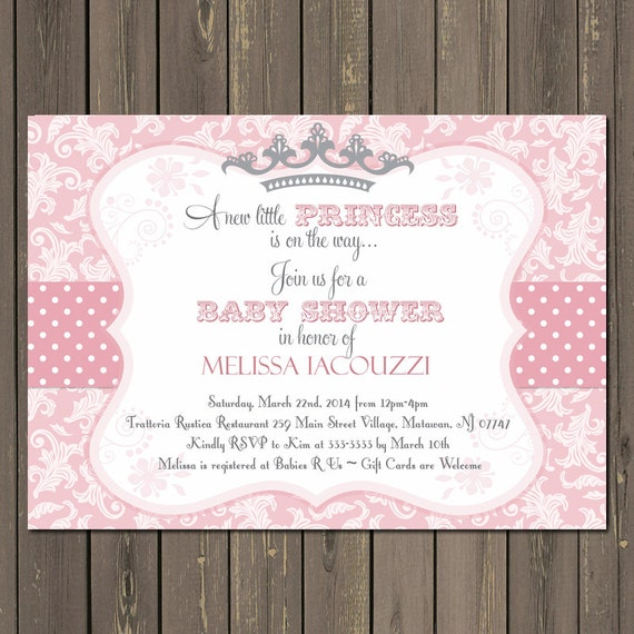 Princess Baby Shower Invitation Pink and Grey Princess Shower