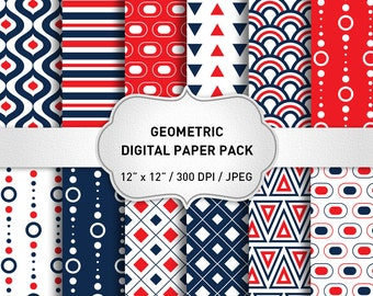 "Geometric Digital Paper: ""Red Digital Paper"" Blue Digital Paper, Geometric Graphic, Geometric Background"