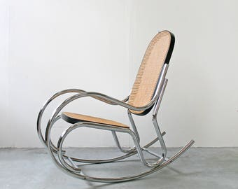 Vintage Marcel Breuer Style Black Wicker Chrome Rocking Chair Italian Bauhaus Tan Woven Basket Tubular Retro Mid Century Modern Modernist