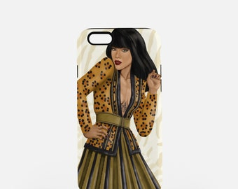 Fashion iPhone Case-Balmain-Rihanna-Fashion Illustration-iPhone 8 Case-iPhone 7 Case-iPhone 8 Plus Case-iPhone 7 Plus Case-iPhone X Case