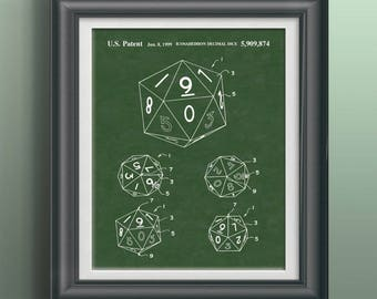 Die Patent Gift for Gamer DnD Wall Art Dungeons and Dragons Dice Poster Dungeon Master Gift Game Room Decor Role Playing Game Decor PP 4030