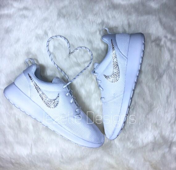 SALE Nike Roshe One Bling Shoes  All White Roshe One Nike