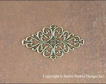 Filigree Pin or Barrette Component in Antiqued Polished Brass (item 2507 AG) - 12 pieces