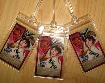 My Fair Lady Luggage Tags - Audrey Hepburn Rex Harrison Movie Poster Tag Set (3)