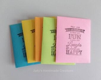 Set of 10 Gift Card Envelopes, Birthday Gift Card Holder, Gift Card Holder, Small Envelopes with Insert Card, Mini Envelopes