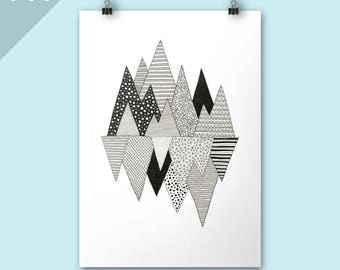 Mountain print / Lost in mountains / A4 print / Art print / Illustration / Contemporary art / Christmas art / Christmas poster print