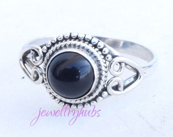 Black Stone Ring, Stone Ring, Black Silver Ring, Silver Ring, Black Stone Ring, Sterling Silver Ring,Size - US 3,4,5, 6, 7, 8, 9, 10, 11,12