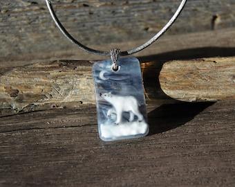 Polar bear necklace - Fused glass pendant