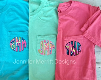 Monogram Shirt, Lilly Pulitzer Monogram Shirt, Comfort Colors Pocket T-shirt, Short Sleeve Comfort Color, Monogram Shirt, Gift for Her