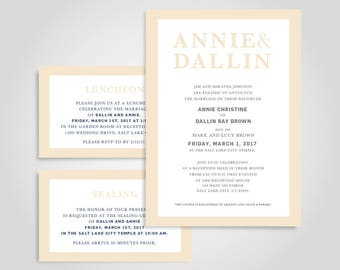 Simple & Classy Mormon LDS Wedding Invite Tan / Beige and Gray
