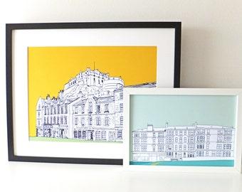 A3 Print, Edinburgh Castle Print, Grassmarket, Scottish art, Large Print, Picture of Edinburgh, Scotland, travel illustration