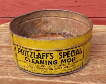 "Vintage Antique Tin ""Pritzlaff's Special Cleaning Mop"" Collectible Metal Tin, John Pritzlaff Hdwe. Co. Milwaukee WI"