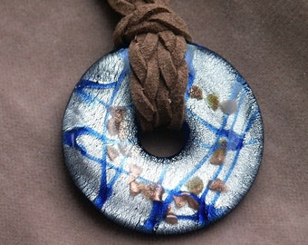 Silver Foiled Blue Glass Donut Focal Pendant 42mm on Suede with Silver Plated Findings