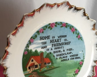 Home is Where the Heart Is Decorative Hanging Plate - White with Gold Edge - 7in
