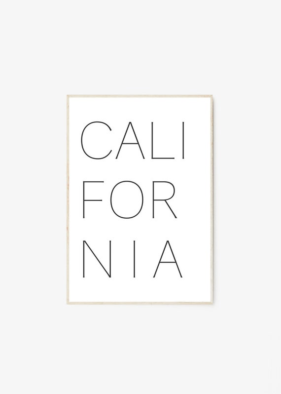 California Print, California Wall Art, California Poster, California Art, Cali Print, California Decor, Typography Print,Typography Wall Art by Etsy