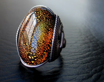 Sparkling Ring, Dichroic Glass, Fused Glass, Sterling Silver, Handcrafted, BOGO, Eco