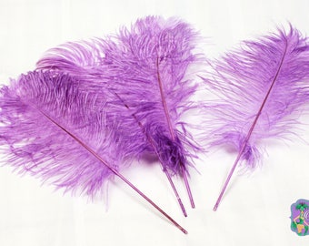USA Seller 10 Pcs. LAVENDER Ostrich Tail Feather Plumes 13 to 18 inches Long. Mardi Gras, Feather CenterPieces, Samba Costumes, Burlesque