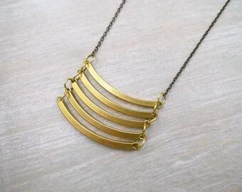 long necklace, Raw brass necklace, Geometric necklace, Long chain necklace, Long statement necklace, minimalist jewelery