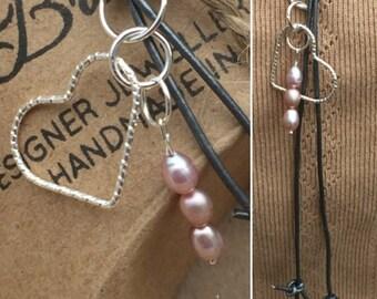 Heart & Pearls Lariat, Leather Heart Lariat, Handmade Heart Pendant, Heart Necklace, Edinburgh Jewellery Designer, K Brown Jewellery, U.K.