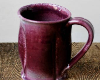 Large Darted Purple Blush Mug Wheel Thrown Stoneware Clay Pottery Ready to Ship