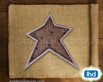 Primitive Country Star Applique -- Primitive Applique -- Primitive Machine Embroidery Design -- Primitive Star Applique -- Design PRM003