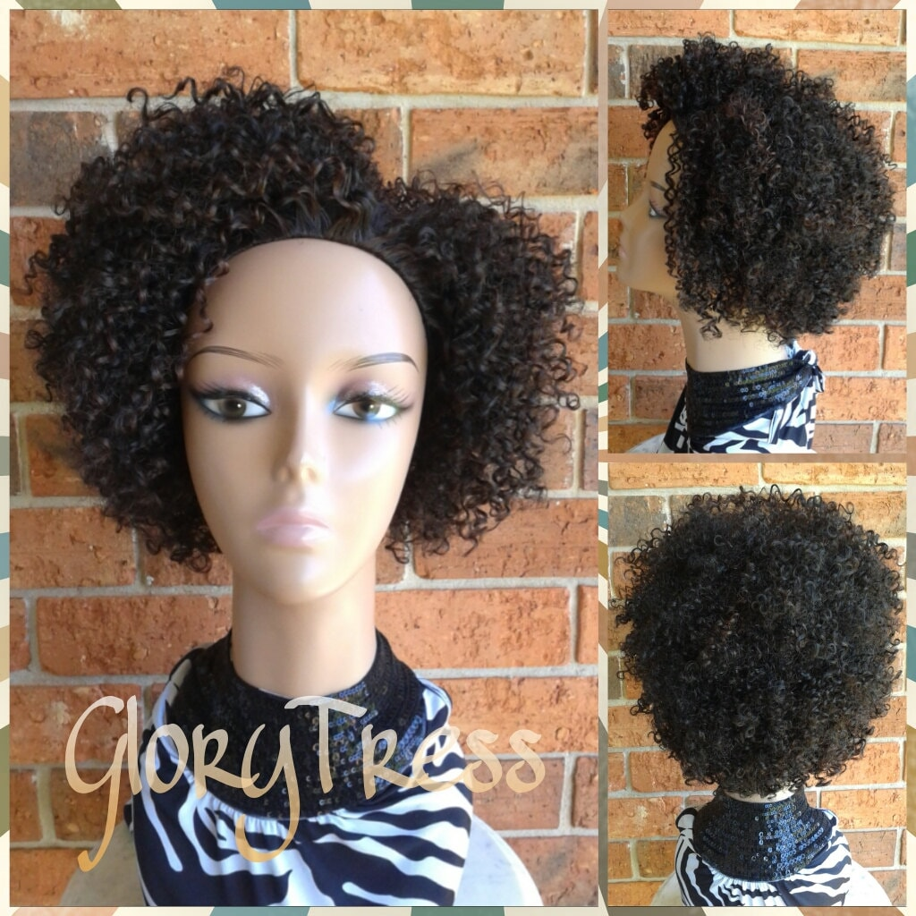 ON SALE // Short Kinky Curly Wig Curly Half Wig Natural