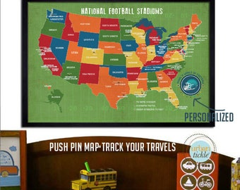 Football Gifts, Football Stadium, Kids Room Art, Football Map for Kids, Playroom Decor, NFL stadiums, Push Pin board, Sports decor for kids