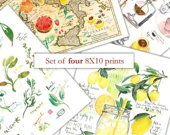 Set of 4 prints, 8X10 prints, Wall art set of 4, Watercolor painting, Kitchen art print set, Food illustration prints, Personalized kitchen