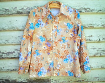 70s Floral Blouse Long Sleeve Shirt Vintage Hippie Boho Retro Button Up Top Seventies Vtg 1970s Size M-L