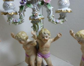 Cherub Angel Baby Candelabra Candle Holder Set Marked NC 3 pcs