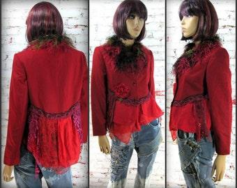 Red wool Blazer, wearable art clothing, OOAK clothing, women's blazer,   # 89